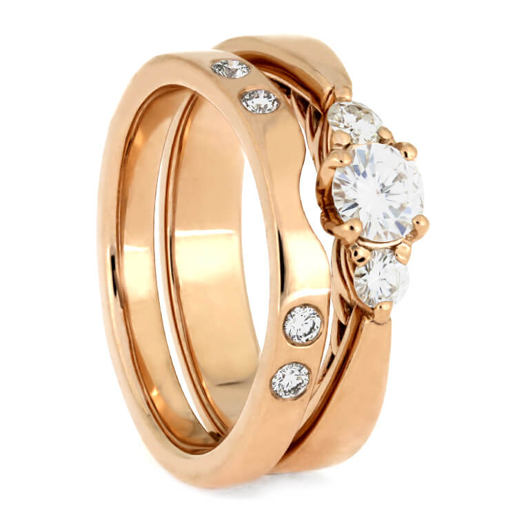 Rose Gold Bridal Set, Three Stone Engagement Ring With Matching Shadow Band-3867 - Jewelry by Johan