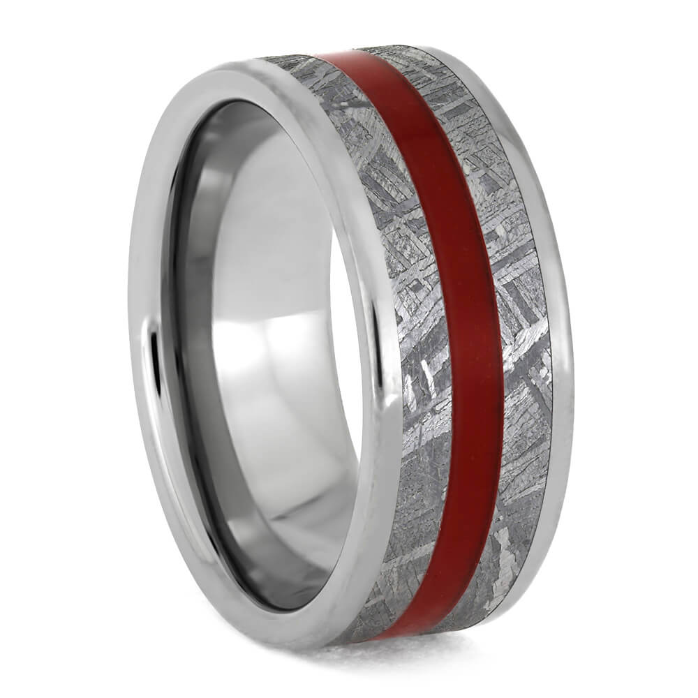 Men's Meteorite Ring With Red Enamel Pinstripe, Titanium Wedding Band-3868 - Jewelry by Johan