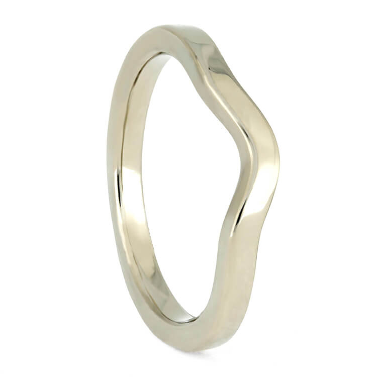 Simple, Custom Women's Wedding Band In White Gold, 2mm Flat Profile Shadow Band-3869WG - Jewelry by Johan