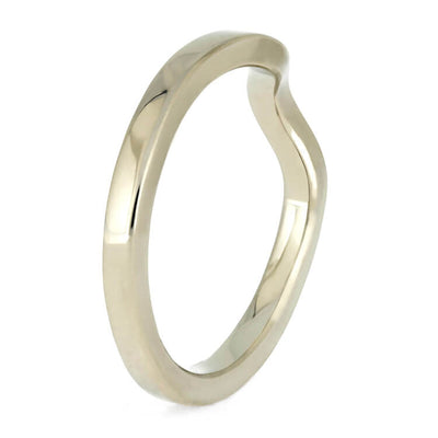 Simple, Custom Women's Wedding Band In White Gold, 2mm Flat Profile Shadow Band-3869