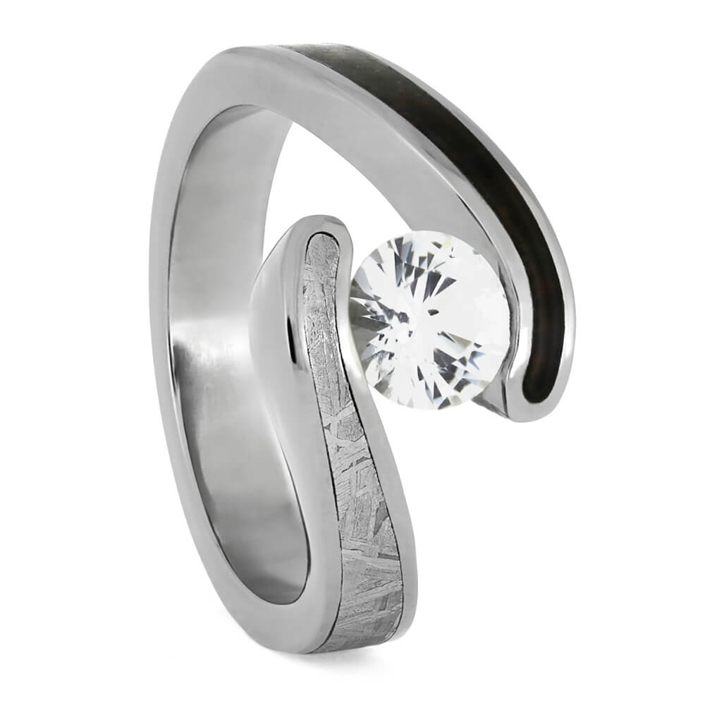 White Sapphire Engagement Ring, Titanium Meteorite Ring With Dinosaur Bone-3870 - Jewelry by Johan