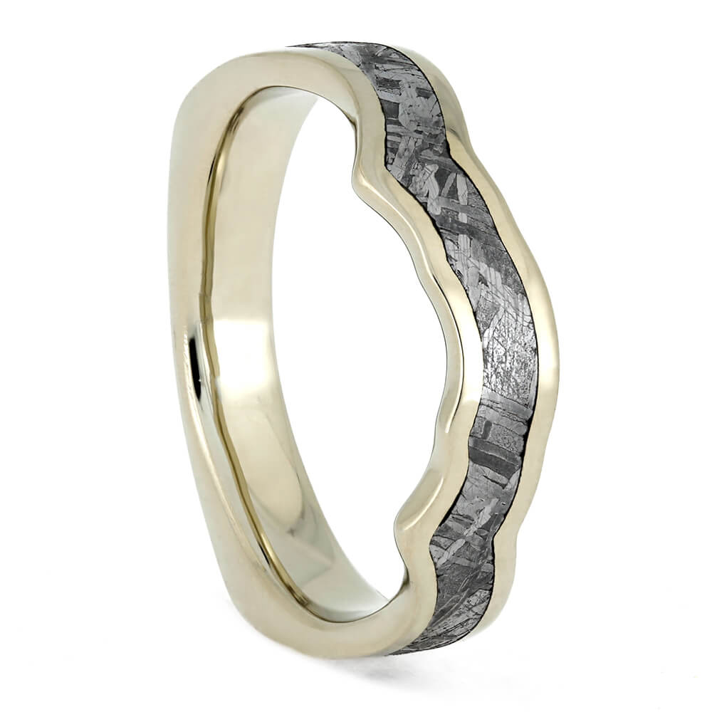 Custom Shadow Wedding Band With Gibeon Meteorite Inlay