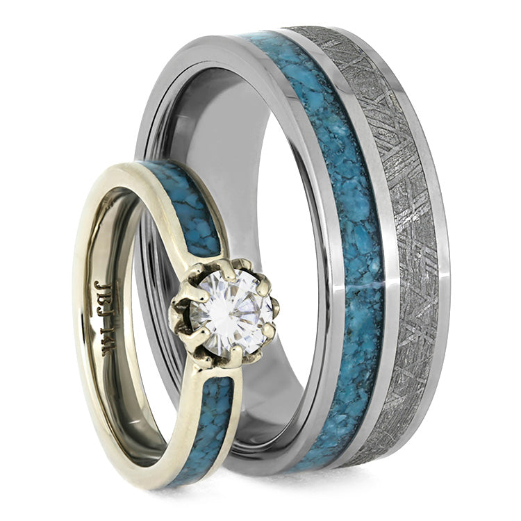Turquoise Wedding Ring Set, Floral Engagement Ring With Meteorite Wedding Band-3872 - Jewelry by Johan