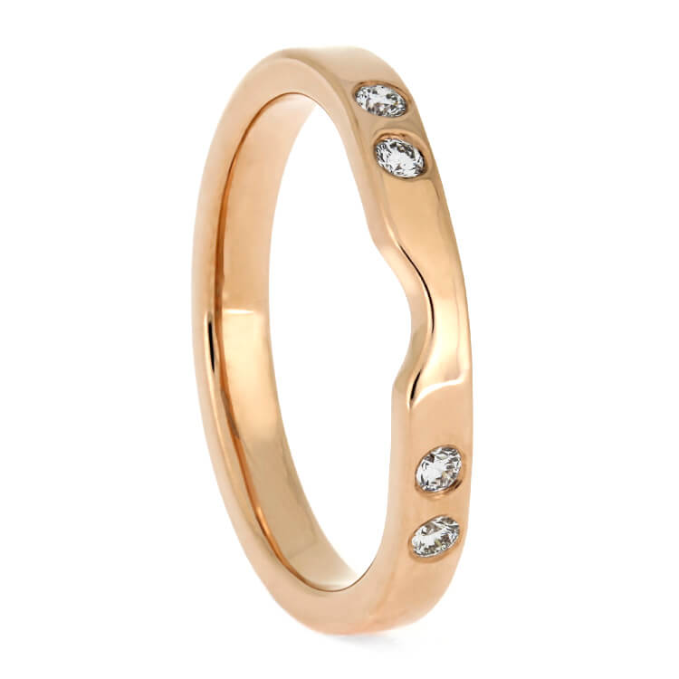 Plus Size Women's Rose Gold Wedding Band With Diamonds-3885RGX - Jewelry by Johan