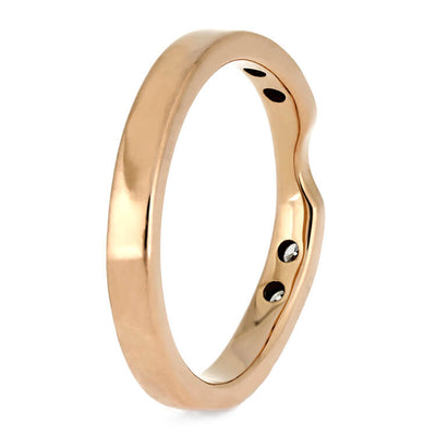 Custom Rose Gold Wedding Band With Diamonds, Women's Shadow Band for Engagement Ring-3876