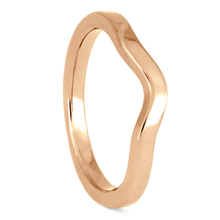 Simple, Custom Women's Wedding Band In Rose Gold, 2mm Flat Profile Shadow Band-3879