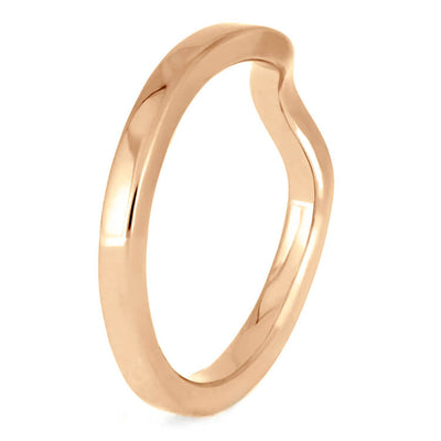 Custom Women's Rose Gold Wedding Band, 2mm Flat Profile Shadow Band-3869RG - Jewelry by Johan
