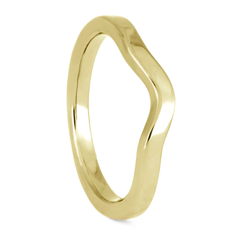 Simple, Custom Women's Wedding Band In Yellow Gold, 2mm Flat Profile Shadow Band-3880