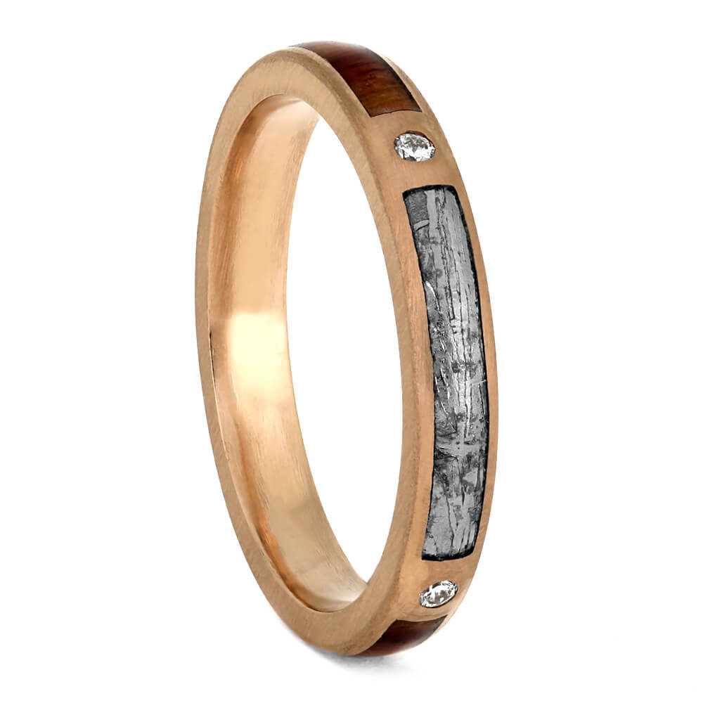 Meteorite And Tulipwood Wedding Band, Diamond Ring In Rose Gold-3881 - Jewelry by Johan