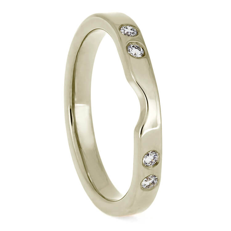 Plus Size White Gold Women's Wedding Band With Diamonds-3885WGX - Jewelry by Johan