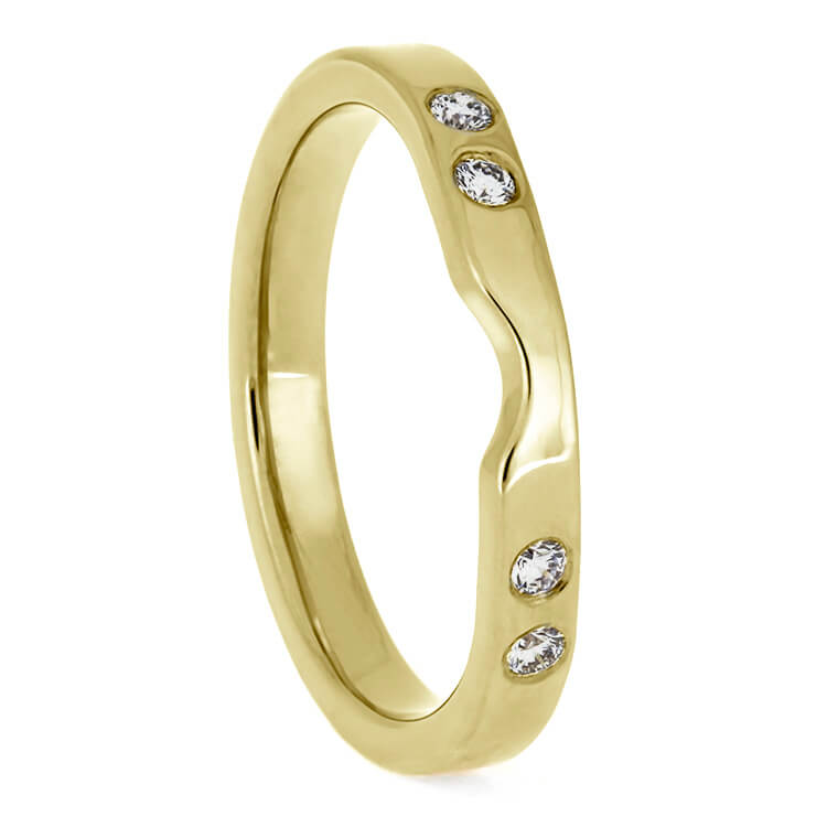 Custom Yellow Gold Wedding Band With Diamonds, Women's Shadow Band For Bridal Set-3886