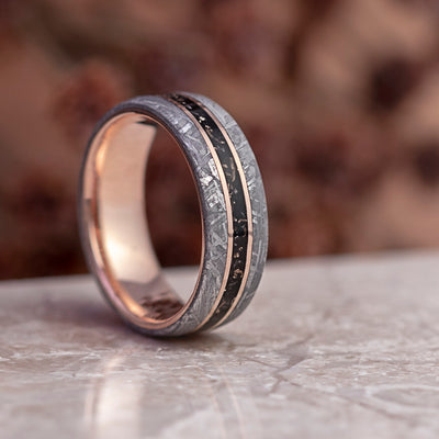 Black Stardust™ and Meteorite Men's Wedding Band In Rose Gold-3887 - Jewelry by Johan