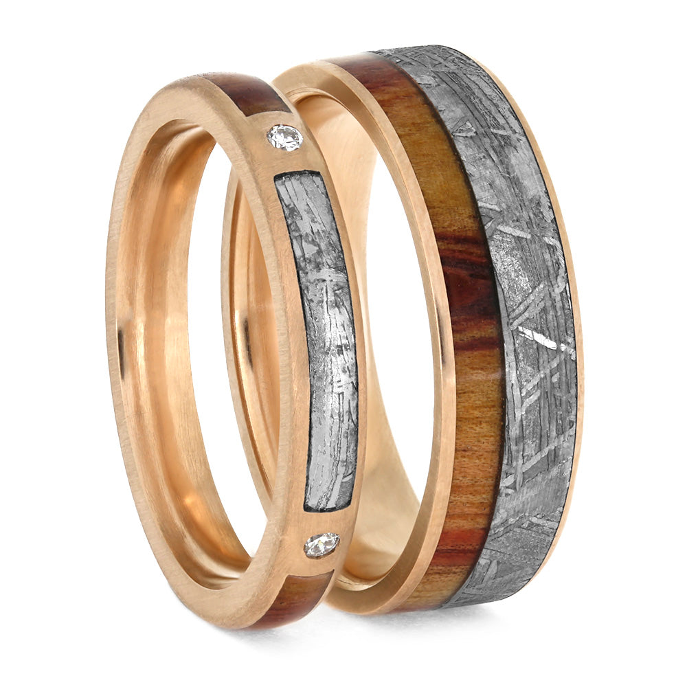 Meteorite And Tulipwood Wedding Ring Set, Matching Rose Gold Wedding Bands-3883 - Jewelry by Johan