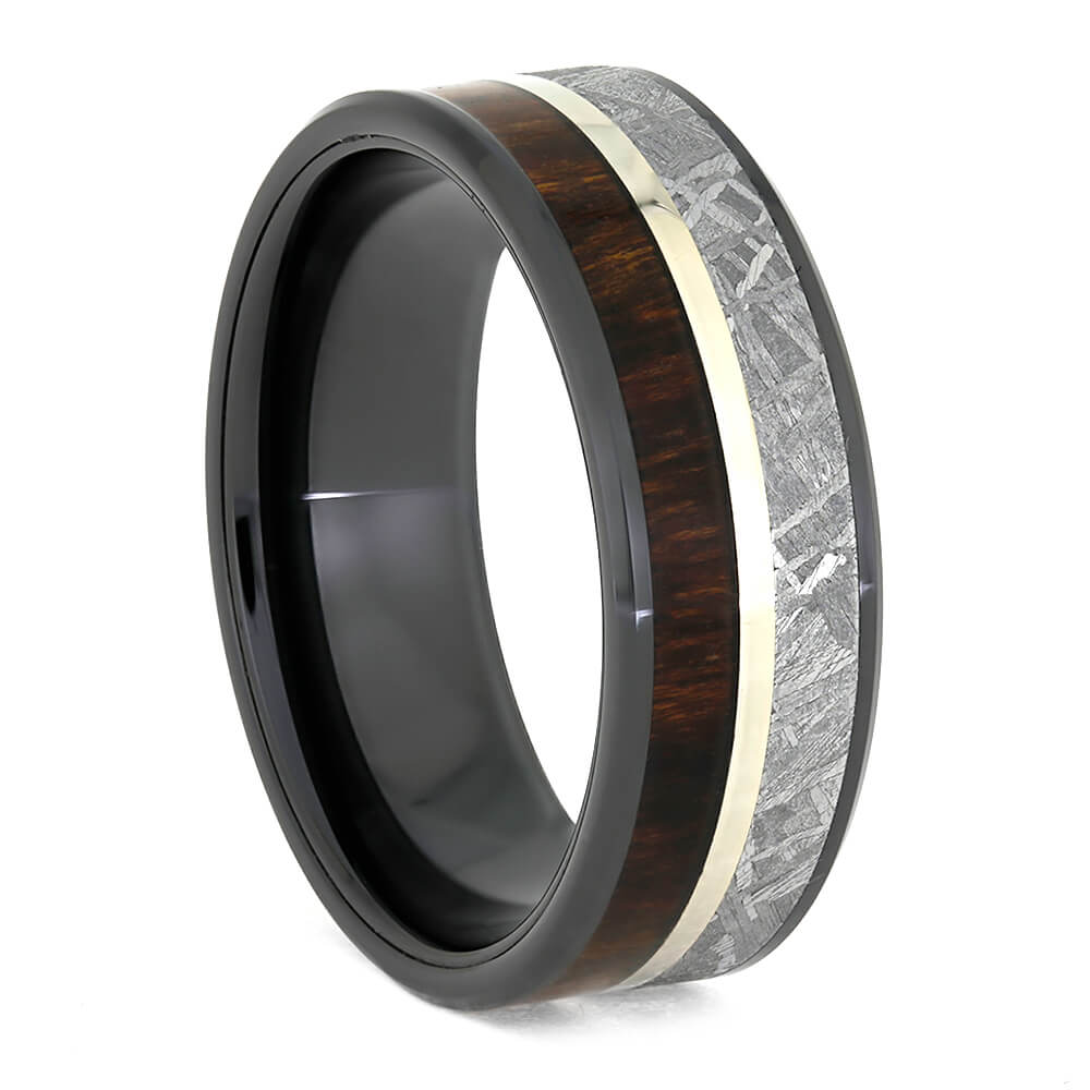 Black Ceramic Ring With Meteorite And Carribean Rosewood-3888
