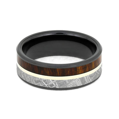 Black Ceramic Ring With Meteorite And Carribean Rosewood-3888 - Jewelry by Johan