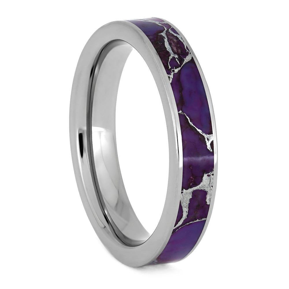 Lightning Turquoise Ring, Titanium Wedding Band With Violet Turquoise-3893