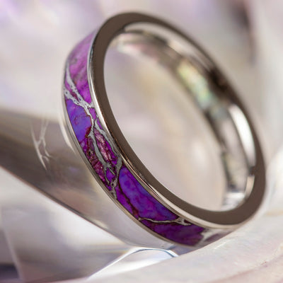 Lightning Turquoise Ring, Titanium Wedding Band With Violet Turquoise-3893 - Jewelry by Johan