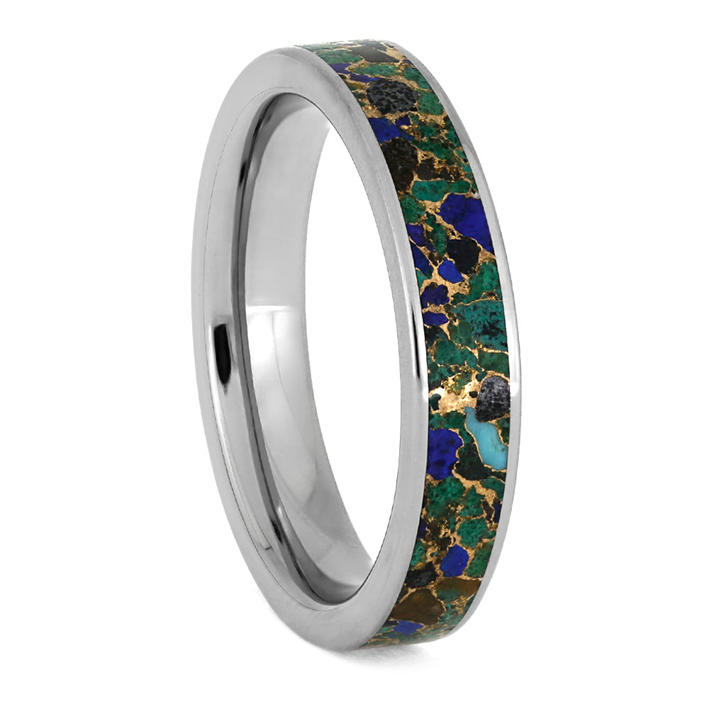 Desert Mosaic Ring, Handmade Titanium Ring With Unique Gem Inlay-3896