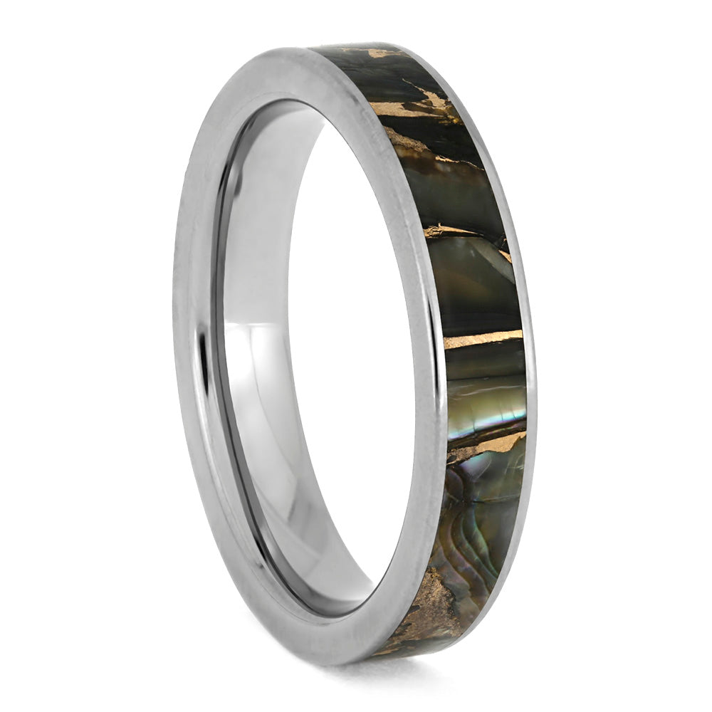 Bronze Abalone Ring, Color Changing Wedding Band In Titanium-3897 - Jewelry by Johan