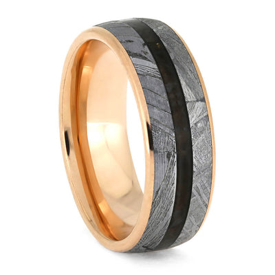 Rose Gold Men's Wedding Band With Rare Meteorite-3898 - Jewelry by Johan