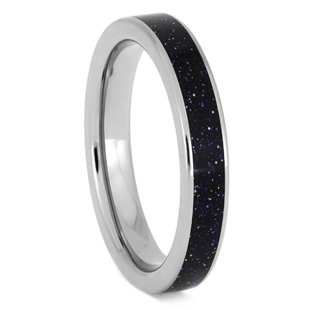 Blue Goldstone Ring, Sparkling Sky Wedding Band - Jewelry by Johan