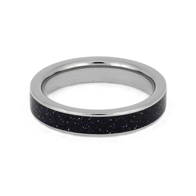 Blue Goldstone Ring, Sparkling Black Wedding Band In Titanium-3901 - Jewelry by Johan