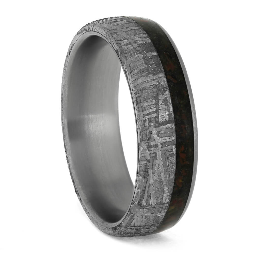 Meteorite Wedding Band With Crushed Dinosaur Bone in Titanium