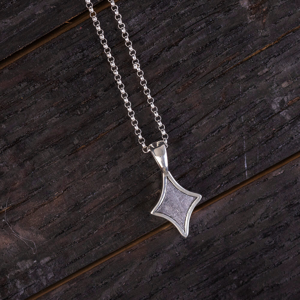 "18"" Meteorite Star Necklace, Sterling Silver Jewelry"