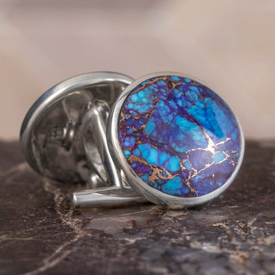 Lava Mosaic Turquoise Cuff Links In Polished Sterling Silver-3916 - Jewelry by Johan