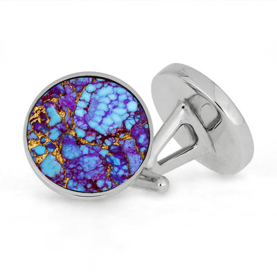 Lava Turquoise Mosaic Cuff Links In Polished Sterling Silver-3916