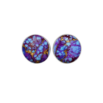 Lava Mosaic Turquoise Stud Earrings In Sterling Silver-3920 - Jewelry by Johan