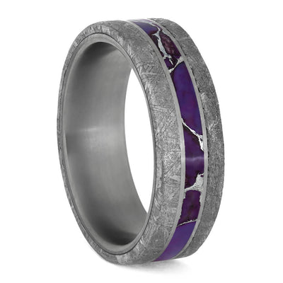 Lightning Turquoise Men's Ring With Meteorite Edges And Titanium Pinstripes-3923 - Jewelry by Johan