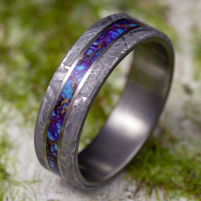 Pinstripe Wedding Band with Colorful Inlay