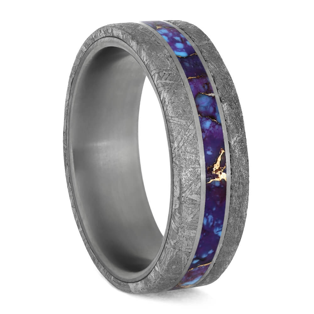 Lava Mosaic Turquoise Men's Ring With Meteorite Edges And Titanium Pinstripes-3924 - Jewelry by Johan