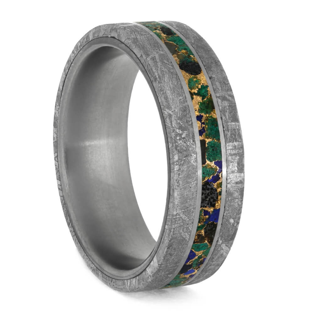Colorful Desert Mosaic Wedding Ring With Meteorite Edges