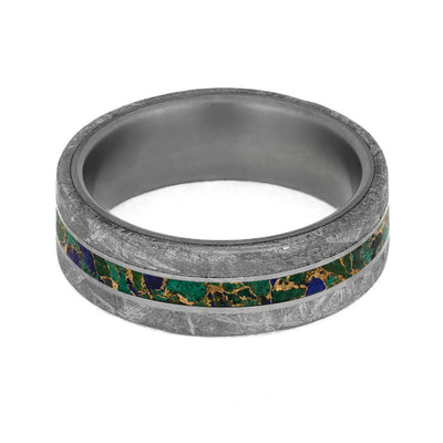 Colorful Desert Mosaic Wedding Ring With Meteorite Edges-3926 - Jewelry by Johan