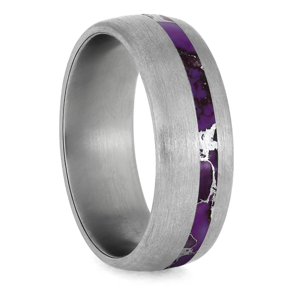 Brushed Titanium Wedding Band With Lightning Turquoise-3927 - Jewelry by Johan