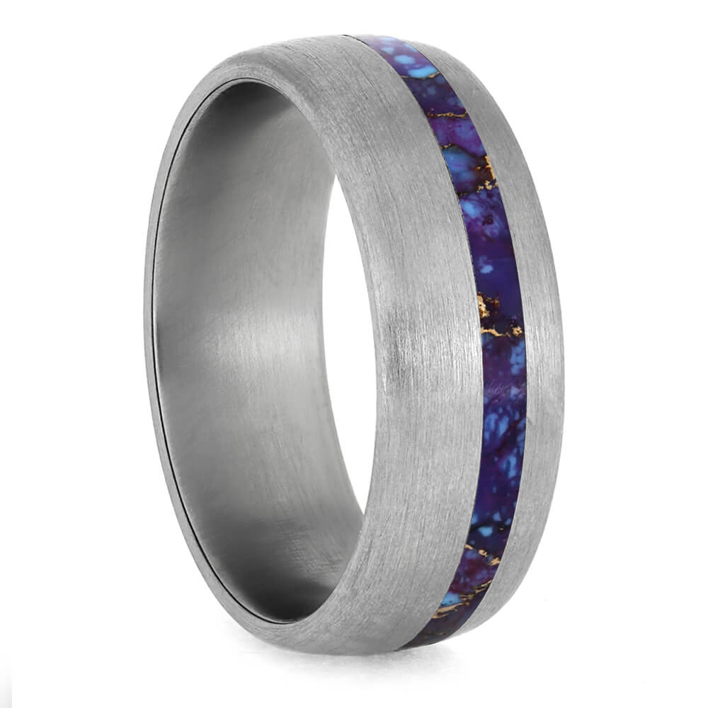 Lava Mosaic Turquoise Wedding Band With Brushed Titanium Finish-3928 - Jewelry by Johan