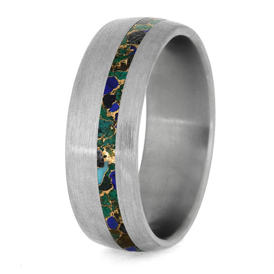 Desert Mosaic Wedding Band, Titanium Ring With Brushed Finish-3930 - Jewelry by Johan