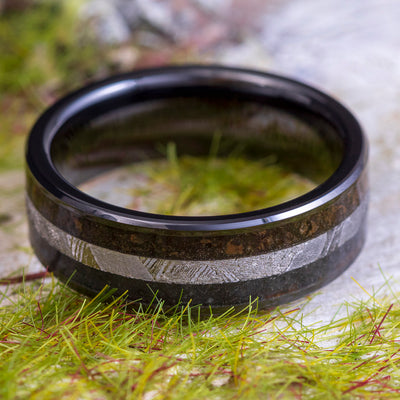 Men's Meteorite Ring, Wood and Dinosaur Bone Wedding Band with Black Ceramic-3945 - Jewelry by Johan
