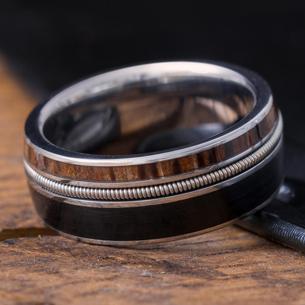 Guitar String Ring made with Vinyl LP Record, Red Palm Wood Wedding Band-3961 - Jewelry by Johan