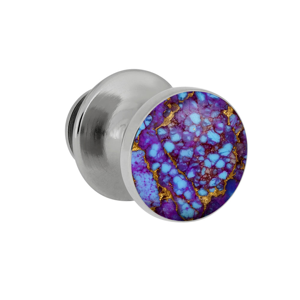 Lava Mosaic Turquoise Tie Tack With Sterling Silver, Gem Alloy Accessory-3973 - Jewelry by Johan