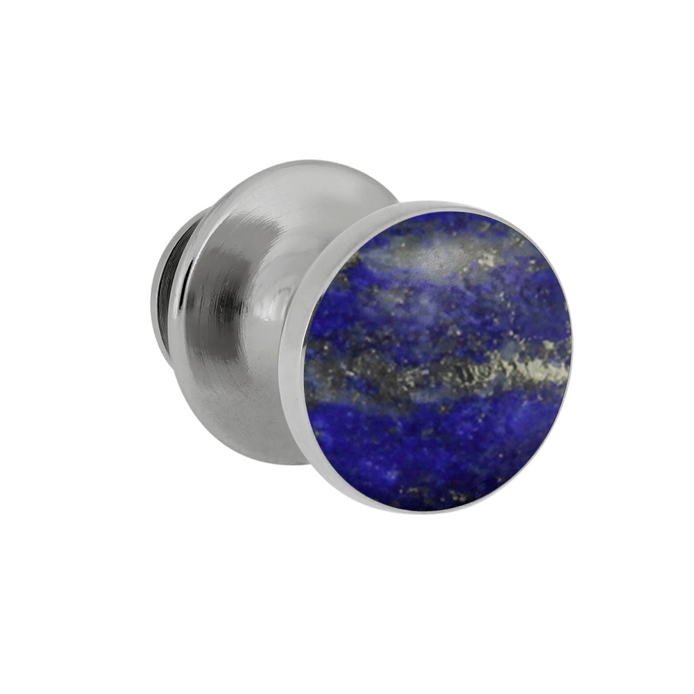 Lapis Lazuli Tie Tack With Sterling Silver, Blue Accessory-3987