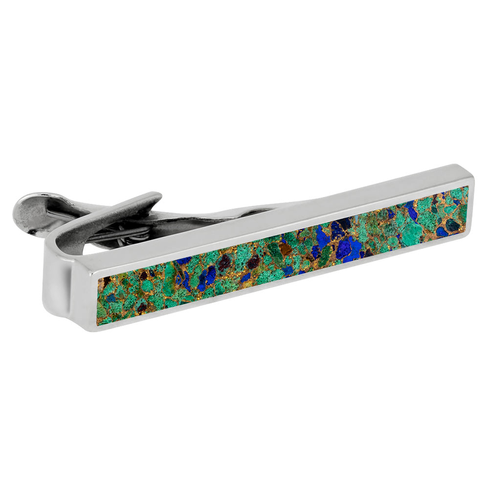 Desert Mosaic Tie Clip, Sterling Silver Jewelry For Men-3980 - Jewelry by Johan
