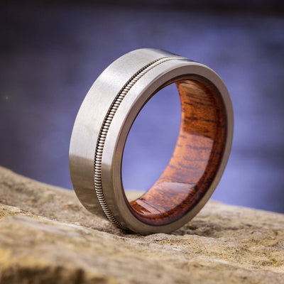 Guitar String Titanium Ring with Mahogany Wood Sleeve-3992 - Jewelry by Johan