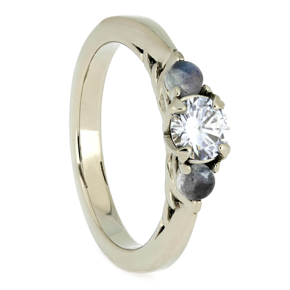 Moonstone Engagement Ring, Three Stone Ring With Moissanite and White Gold-4002 - Jewelry by Johan