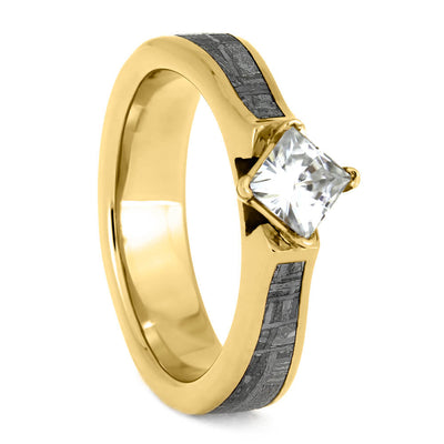 Moissanite Engagement Ring In Yellow Gold, Meteorite Jewelry-4030 - Jewelry by Johan