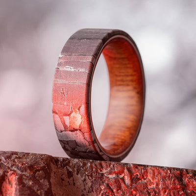 Seymchan Meteorite Wedding Band with Bloodwood Sleeve-4031 - Jewelry by Johan