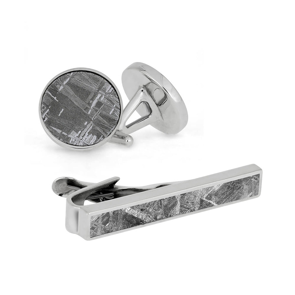 Star Struck Gift Set - Meteorite Cuff Links And Tie Clip Bundle-4036