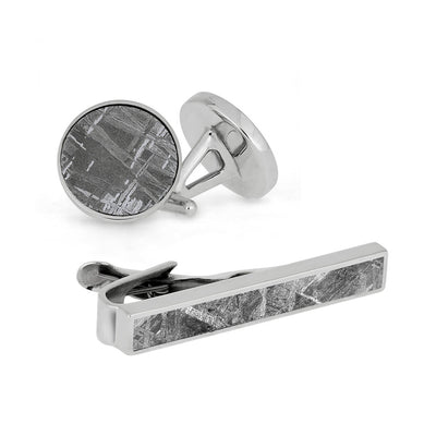 Star Struck Gift Set - Meteorite Cuff Links And Tie Clip Bundle-4036 - Jewelry by Johan